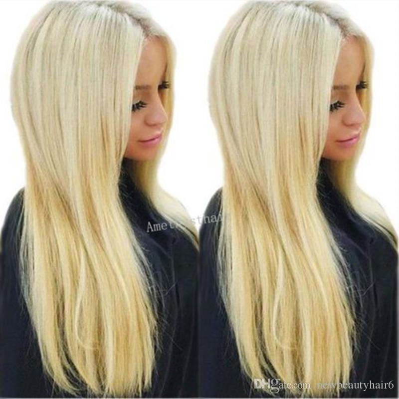 Top Quality Natural Hetero # 613 Platinum Blonde sintética peruca dianteira do laço com o bebê do cabelo para mulheres brancas peruca tranparent rendas