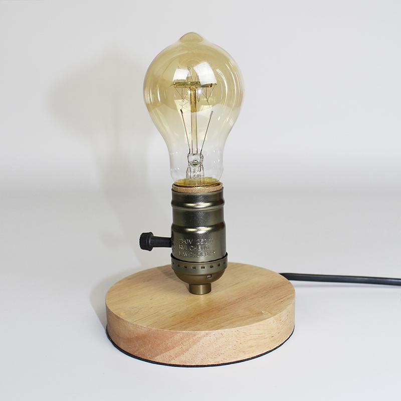 Wooden Aluminum Table Lamp Retro Loft Desk Edison Bulb 110V/220V Dimmable Night Light Office lamp Bedroom/Living Room/Cafe Lam