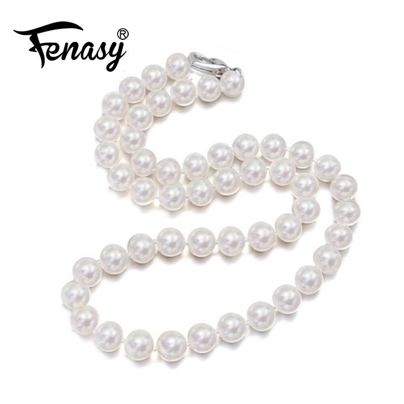 FENASY Pearl Jewelry,natural pearl necklace 9-11mm, Nearly round pearl necklace for women CLASSIC Necklace choker necklaceY1882701