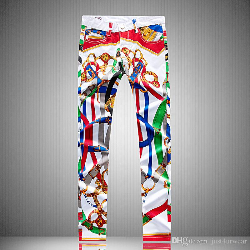 Mens Unregelmäßige Painted Graffiti-Druck-Entwurf Jeans gerade lange Bleistift-Hosen-Mann Teenager Weiß Jeans Street Sim Biker-Denim-Hosen Jean