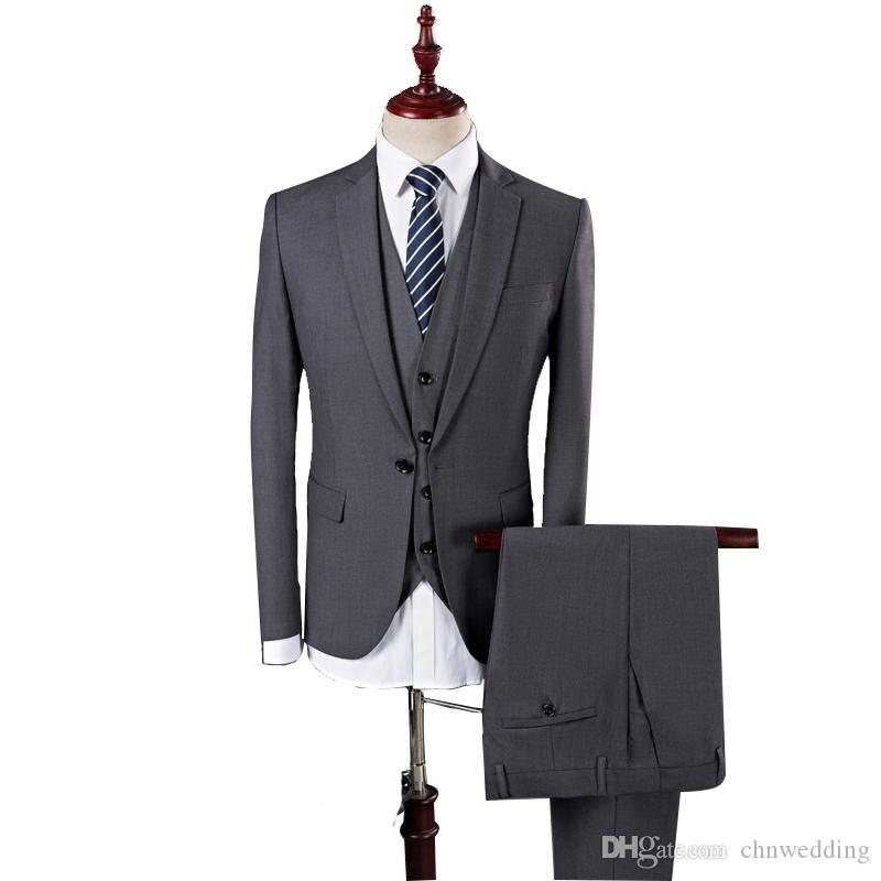 Grey Men Suits Wedding Groom Tuxedos 3 Pieces (Jacket+Pants+Vest) Slim Fit Bridegroom Suits Best Man Blazer Business Prom Wear