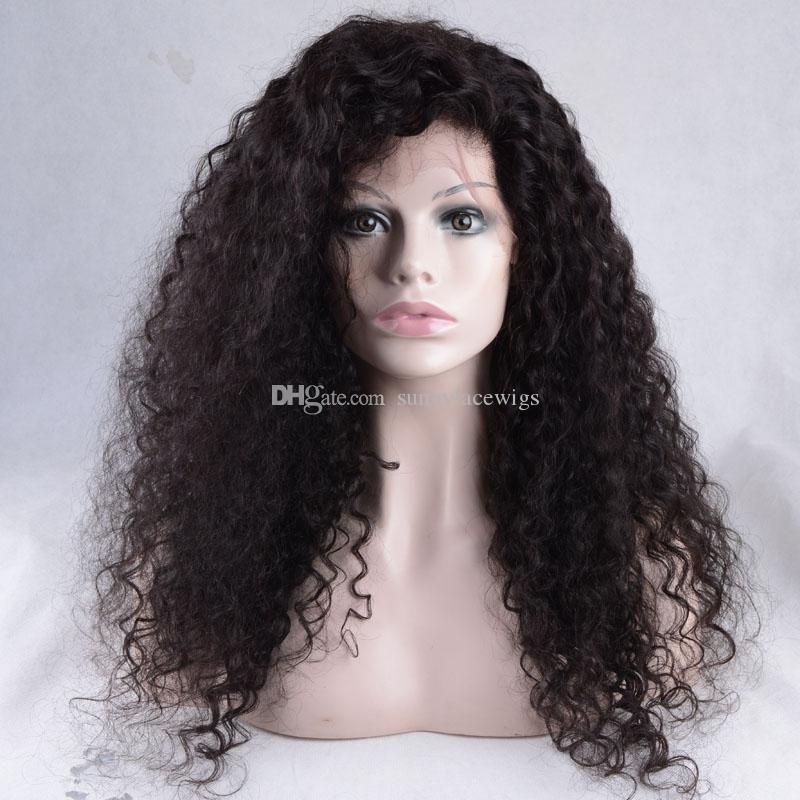 Kinky Curl Human Hair Wigs Virgin Brazilian Hair Afro Curly Glueless Full Lace Wigs & Front Lace Wigs Best Quality