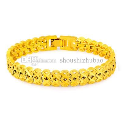 New Vintage Classic 24K Gold Stamped Pattern Chain Bracelets For Women Men Anniversary Engagement Jewelry Gifts CHH111