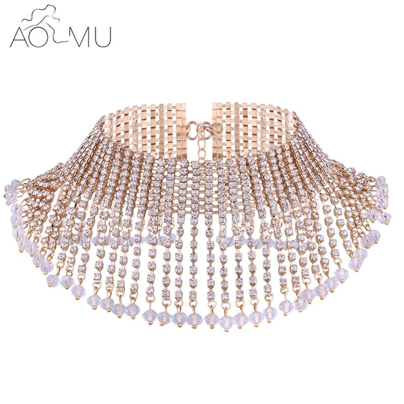 whole saleAOMU Chunky Statement Necklace For Women Paved Crystal Neck Bib Collar Choker Necklace Maxi Jewelry Golden Silver Colors Bijoux