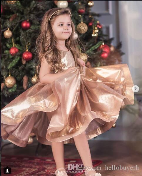 2019 골드 프린세스 플라워 걸스 미식가 드레스 2019 디자이너 키즈 아기 소녀 파티 드레스 신사복 abiti da cerimonia