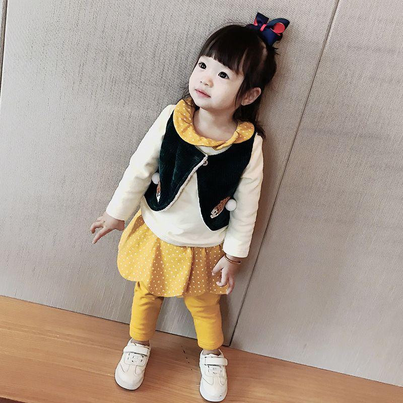Kızların kaşmir elbise kış bebek bebek elbise üç- parça kalın yelek kış bebek elbise