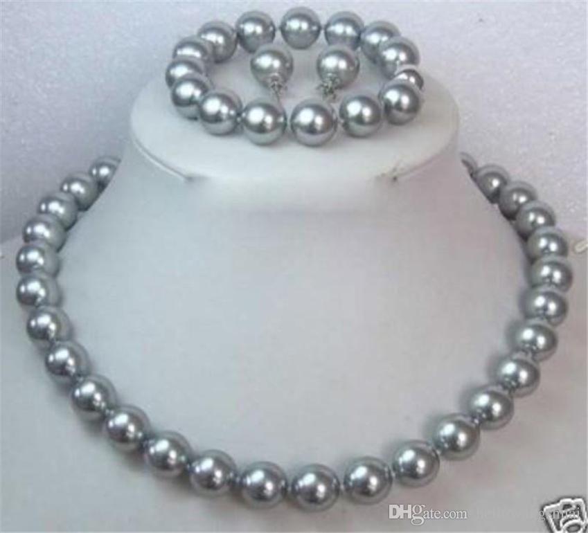 Set di gioielli set di orecchini / orecchini con collana di perle di conchiglia grigio grigio 10MM
