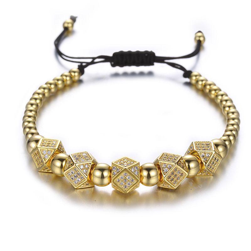 Geométricas Faced Crystal Remaches encanta las pulseras para las mujeres de los hombres de cobre con cuentas pulseras Hombre Accesorios Pulseira Masculina