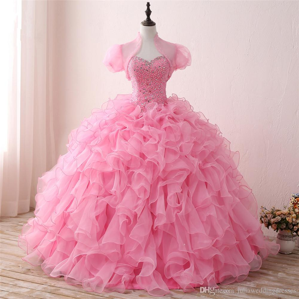 2018 New Arrived Real Photo Sexy Pink Crystal Ball Gown Quinceanera Dress with Beading Sequin Sweet 16 Dress Vestido Debutante Gowns BQ127