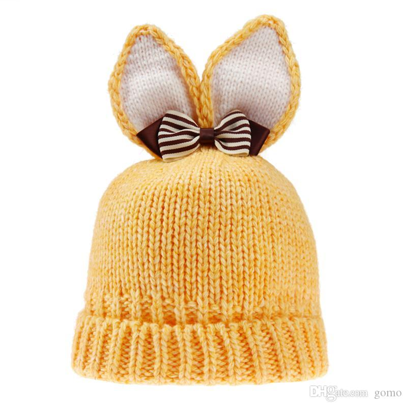 Newborn Baby Hat Lovely Rabbit Ears Wool Knitted Hat for Boy Girl Infant Winter Warm Caps Baby Bunny Beanies