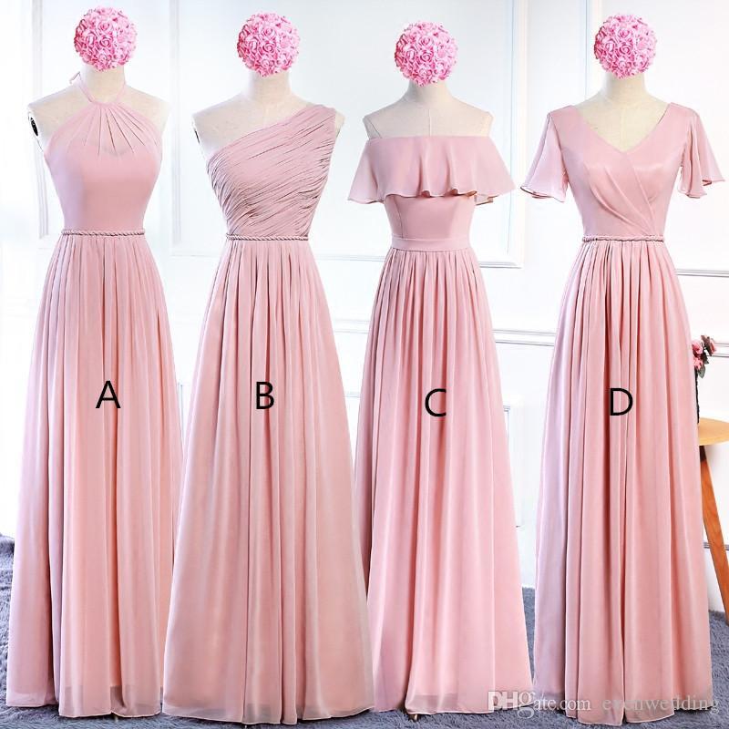 블러쉬 핑크 시폰 긴 신부 들러리 드레스 레이스 최대 2020 보헤미안 신부 들러리 드레스 바닥 길이 웨딩 게스트 드레스