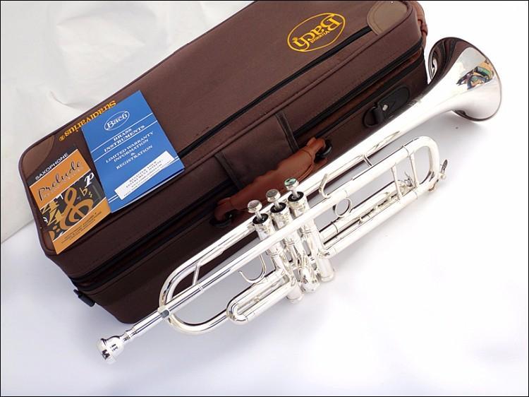 Profesional Bach Trompeta TR-190GS Plateado Cuerpo de tubo plateado Tallado Bb Trumpete Drop B Instrumento de trompeta ajustable
