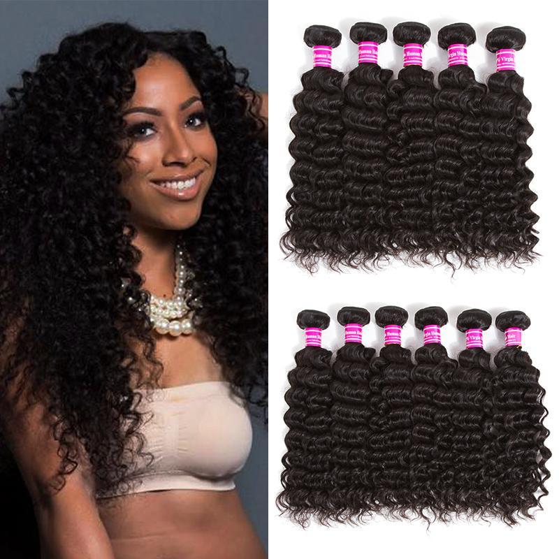 Grade 8a Brazilian Virgin Hair Deep Wave Bundles Indian Malaysian Peruvian Wet and Wavy Human Hair Extensions Remy Hair Weaves Wholesale