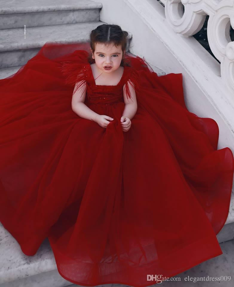 Dark Rouge Lovely dit Mhamad Little Girls Pageant Robes Sangles Spaghetti Sangles Enfants Bal Robes Anniversaire Robes de fête d'anniversaire pour petites filles