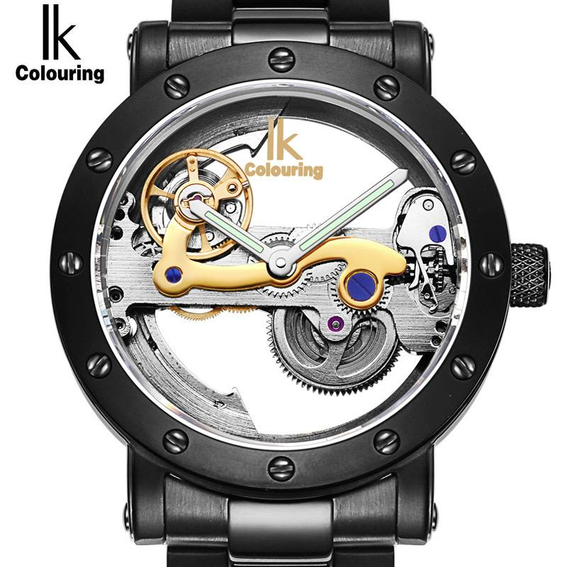 IK Top Brand Luxury Self Wind Automatic New Black Men's Skeleton WristWatch Stainless steel Antique Steampunk Casual masculino C18111601