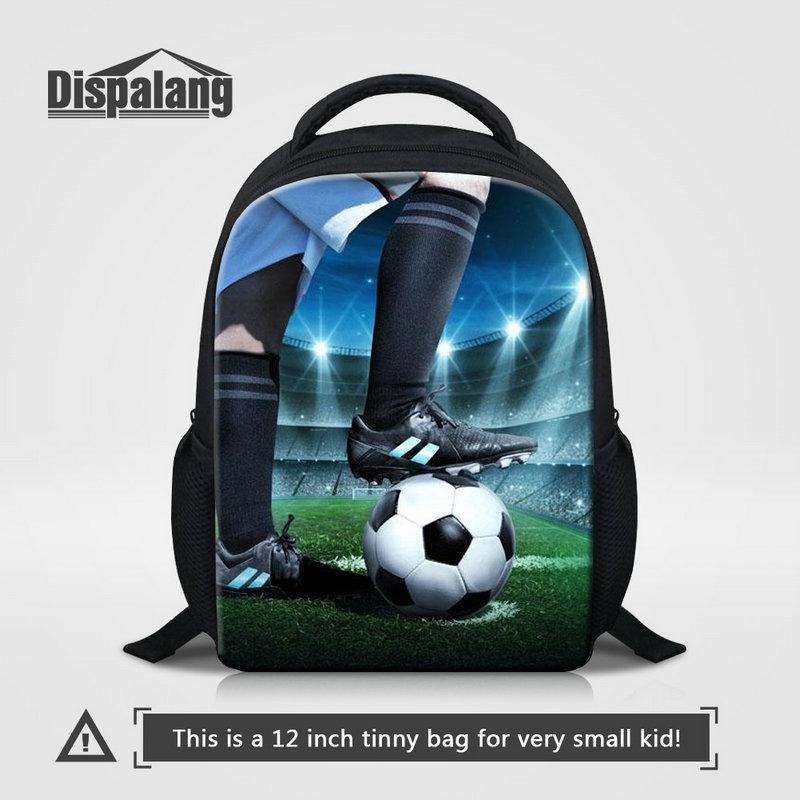 Venta caliente del patrón 3D Fútbol Fútbol impresión escuela Mochila para el Kinder 12 pulgadas pequeño Mochila Infantil Moda Baloncesto Mochila Sac