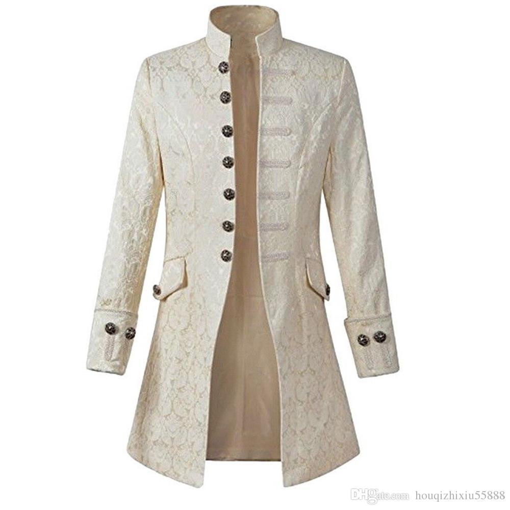 Großhandel Männer Jacke Gothic Brokat Jacke Gehrock Langarm Stehkragen Steampunk Jacke Herren Vintage Mantel Von Houqizhixiu55888, $36.55 Auf