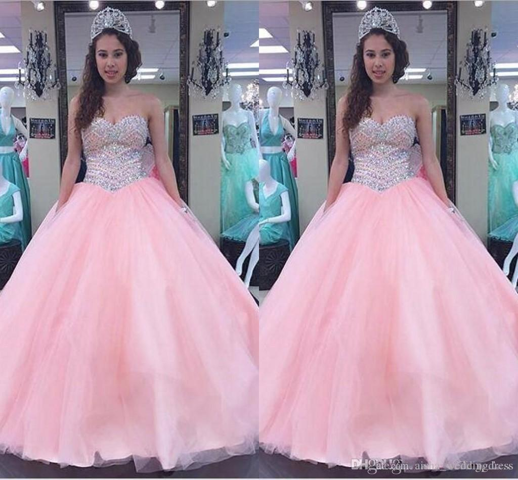 TULLE PING QUINQANERA ROBES TULLE 2019 SOWEETHEART Sans manches Luxe Perlée Princesse Princesse Princesse Perlée Boule De Perles Perles Quinceanera