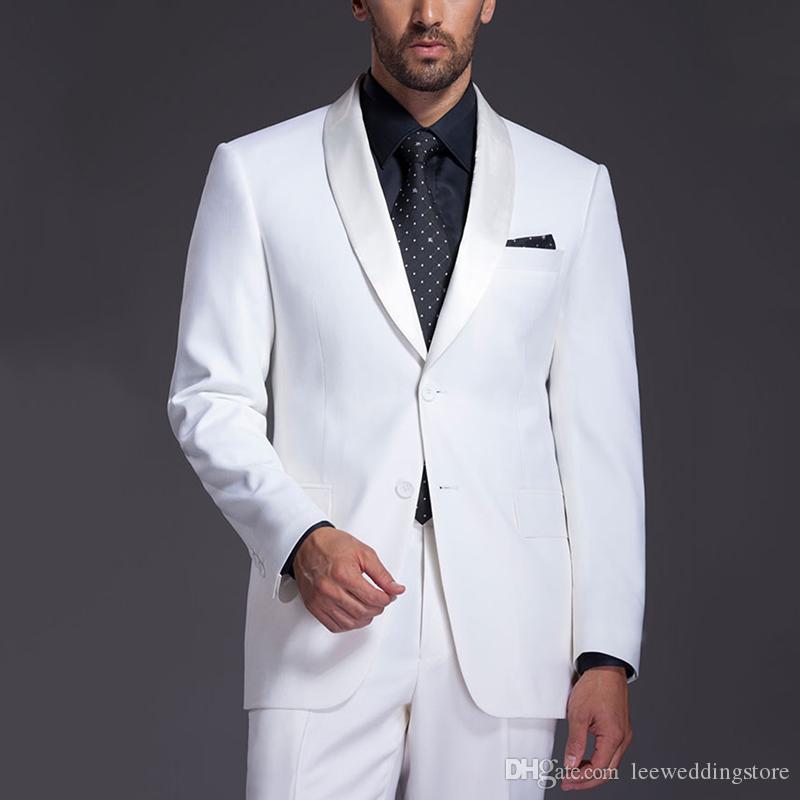 2018 Trajes de hombre Trajes de boda de solapa de mantón blanco Novio por encargo Slim Fit Esmoquin casual Mejor vestido de noche de fiesta de graduación de hombre Chaqueta + pantalones
