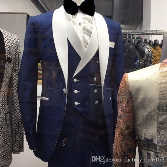 높은 품질의 목도리 흰색 옷깃 신랑 한 단추 신랑 턱시도 남자 정장 웨딩 / 댄스 파티 / 저녁 식사 최고의 남자 재킷 (자켓 + 바지 + 조끼 + 넥타이) E01