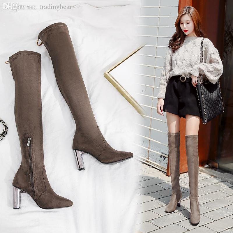 look out for new collection quality and quantity assured Fashion Women Over The Knee Boots Metal Thick Heel Thigh High Boots Winter  Khaki Black Size 35 To 39 Pumps Shoes Shoe Boots From Tradingbear, &Price;|  ...