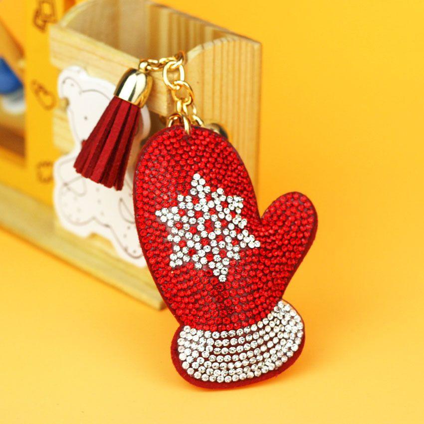 New Weihnachtsgeschenk Weihnachts Handschuhe Schlüsselanhänger Auto Schlüsselanhänger Strass Kristall Schlüsselanhänger Tasche Zubehör