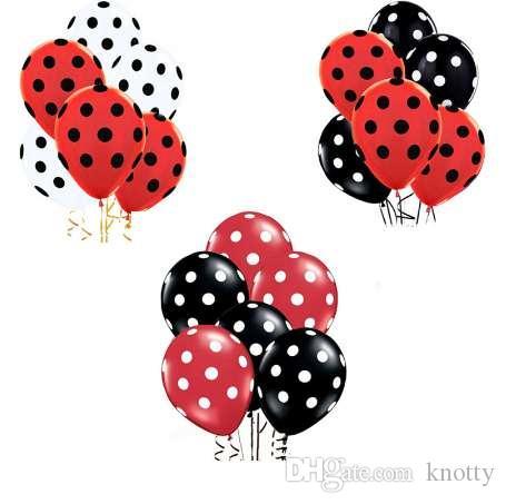 35pcs coccinelle noir tache rouge à pois ballons en latex globos fête anniversaire présente des ballons décorations de mariage