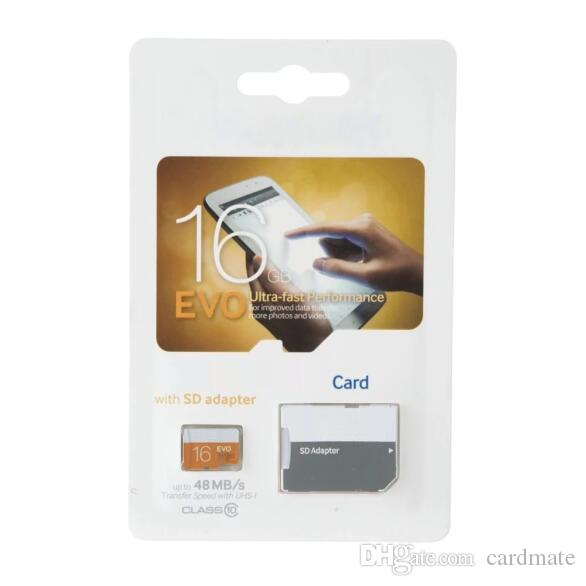 100 % 진짜 가득 차있는 수용량 EVO 64GB 32GB 16GB 8GB 4GB 2GB TF 기억 플래시 카드 자유로운 SD 접합기 소매 물집 포장 2018 뜨거운 판매