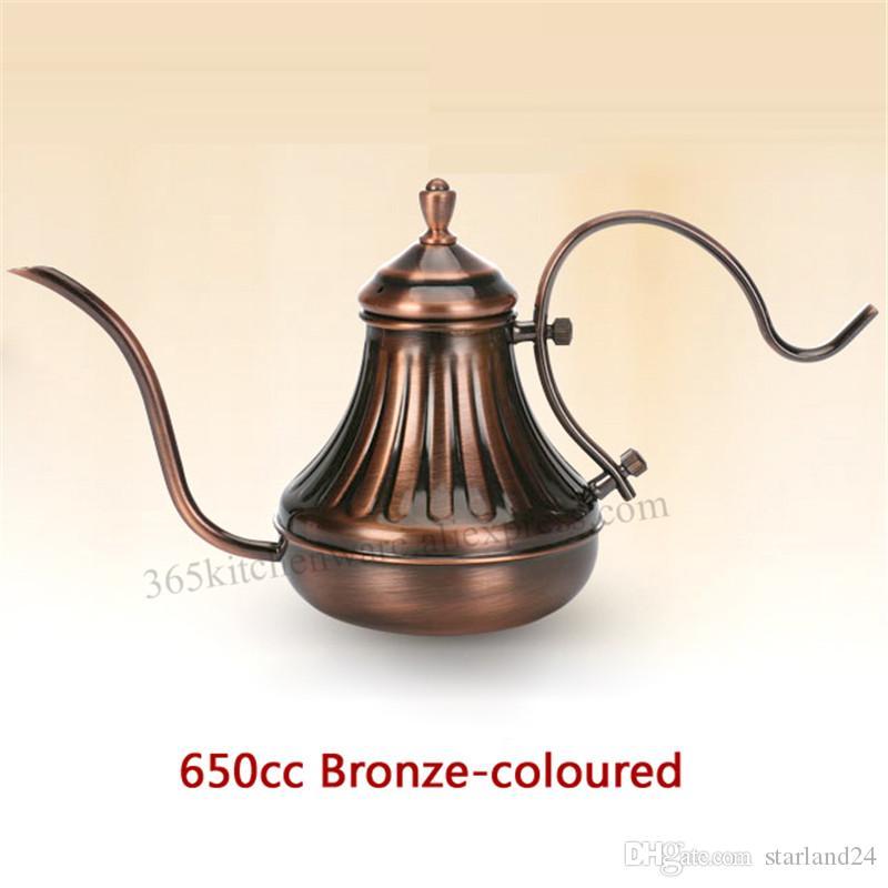 450 ML 650 ML Gooseneck Kahve Su Isıtıcısı Espresso El Dökmek Pot Paslanmaz Çelik Gümüş / Bronz Renk