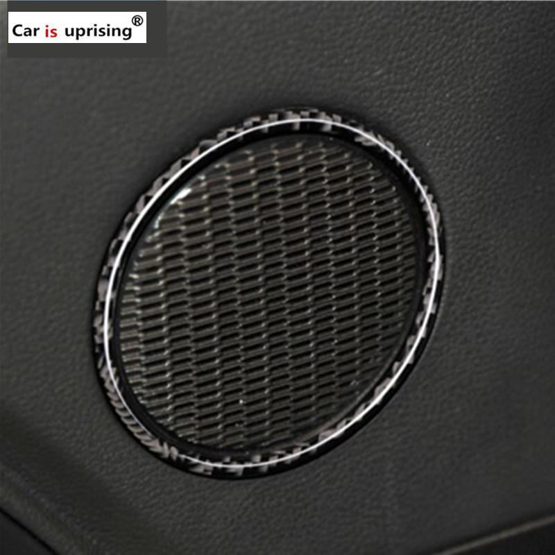 2pcs Pour Ford Mustang Président en fibre de carbone de porte de voiture audio bande couverture voiture anneau autocollant 2015 2016 2017 Intérieur de voiture Accessoires