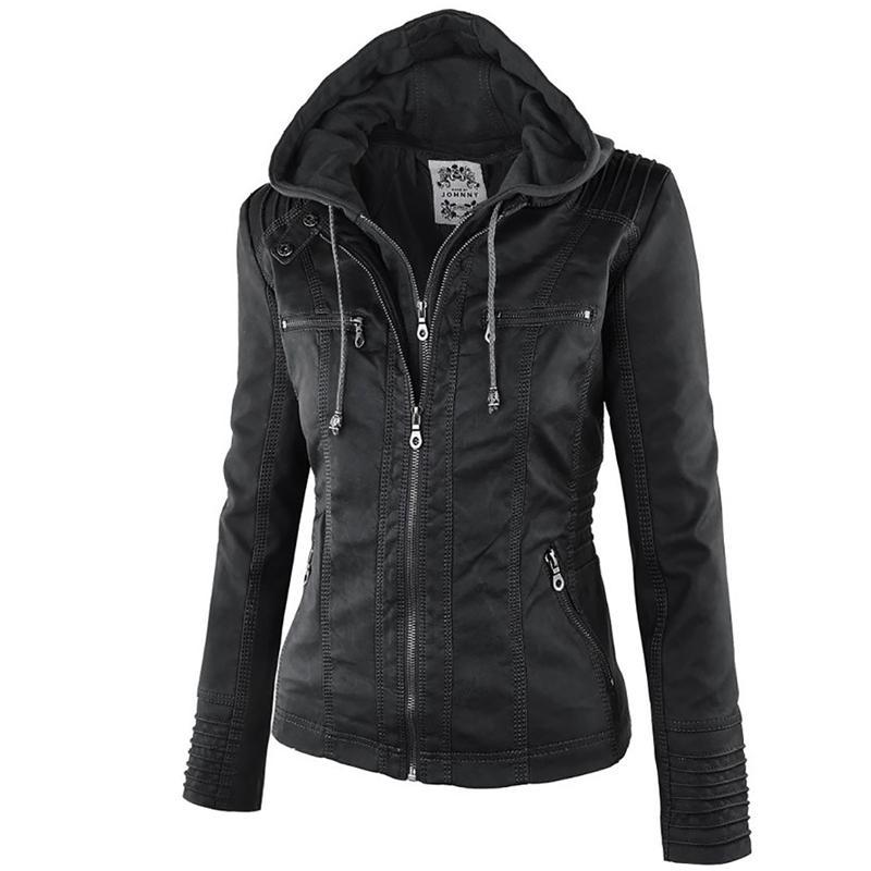 2018 Fashion Winter Faux Leather Jacket Women Basic Jackets Hooded Black Slim Motorcycle Short Outerwear Women Coats Female