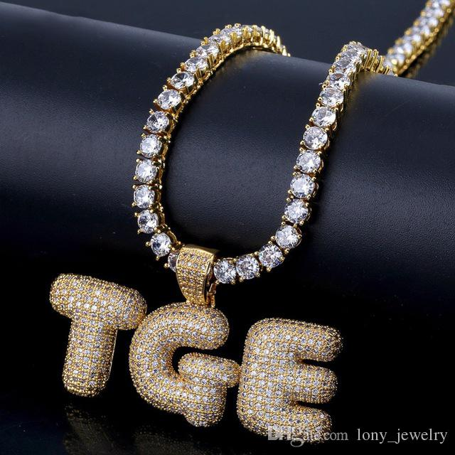 925 Sterling Silver White Gold-Tone Iced Out Hip Hop Bling Bubble Alphabet Letter U Pendant with 24 Rope Chain