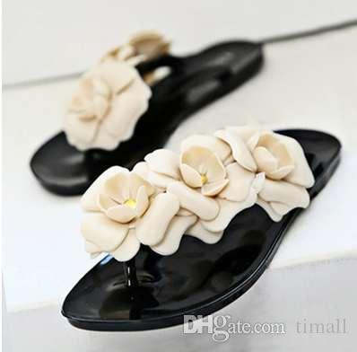Sweet flower shoes woman slippers flip-flops adult light summer slippers female shoes plus size 35-41 flats solid black shoes