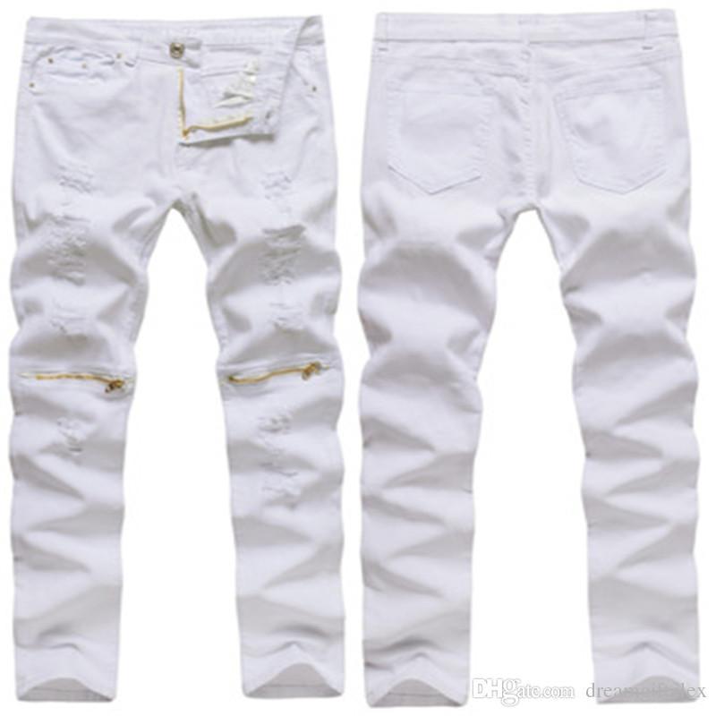 2018 sıcak satış erkek Rahat Fermuar Dekorasyon Delik Yüksek Elastik Ince Moda Kot Rahat Tarzı Katı Beyaz erkek sıska pantolon
