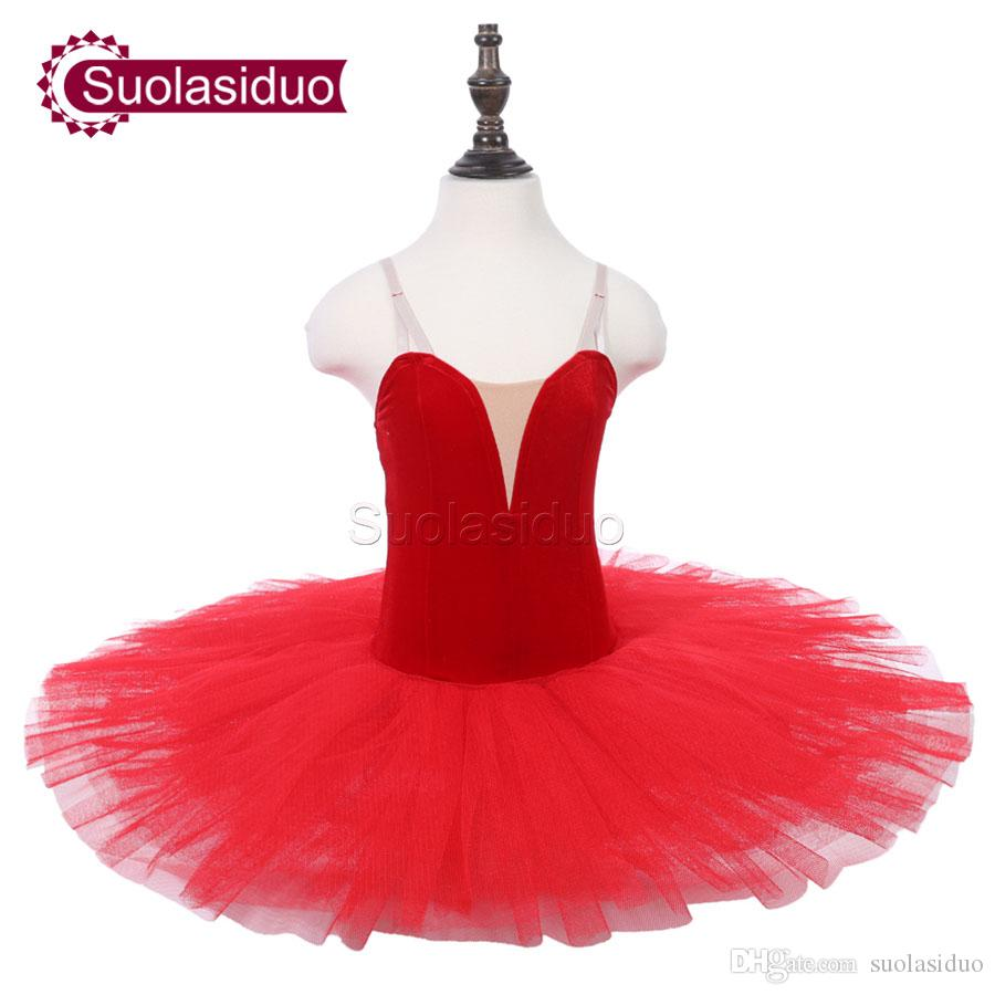 Kids Red Ballet Tutu Pink Stage Performance Costumes Girls Ballet Dance Competition Apperal Adult Orange Ballet Skirt