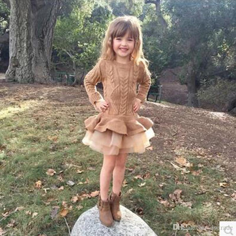 2018 Nuovo maglione di Natale in maglia Casual autunno vestiti del bambino manica lunga falso abiti a due pezzi vestiti della neonata
