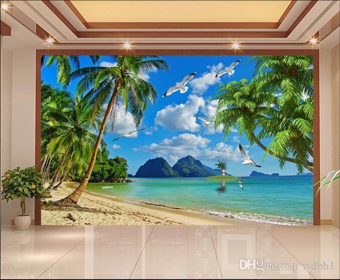 Fototapete kundenspezifisches Foto Blauer Himmel am Meer Kokosnussbaum Möwe tv Hintergrund Wand Wohnzimmer 3d Wand muals Tapeten für Wände 3 d