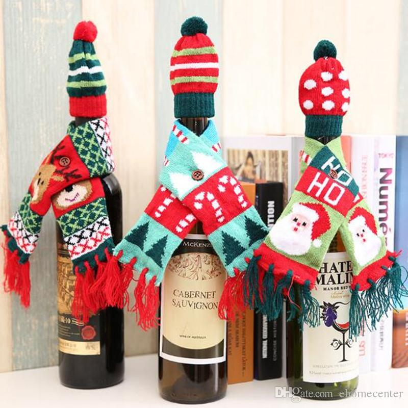 Santa red wine bottle Decoration Gift Scarf Hat Father Christmas Cutlery Tableware Holder bottle Cover Decor Suit Table Decorations HQ041