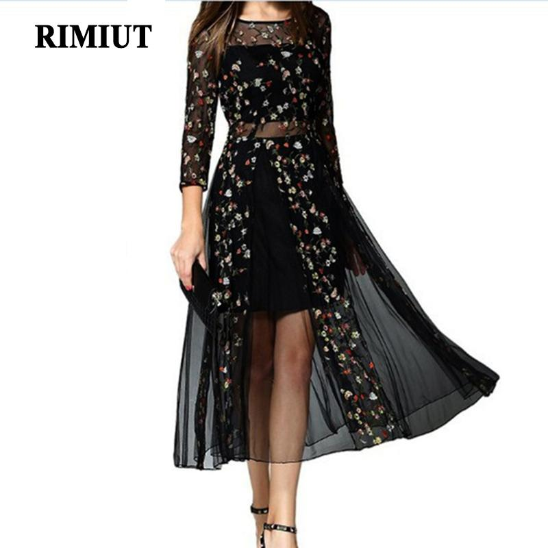 Rimiut Mexican Dress Women Spring Summer Embroidered Mesh Long Dress Boho People 2018 High Quality Designer Net Yarn