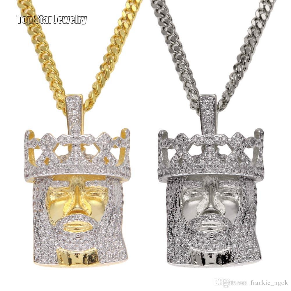 Newest Style Top Quality Copper Micro-inserts Cubic Zirconia Crown King Pendant Necklace Cuban Chain For Mens Hip Hop Rapper Accessories
