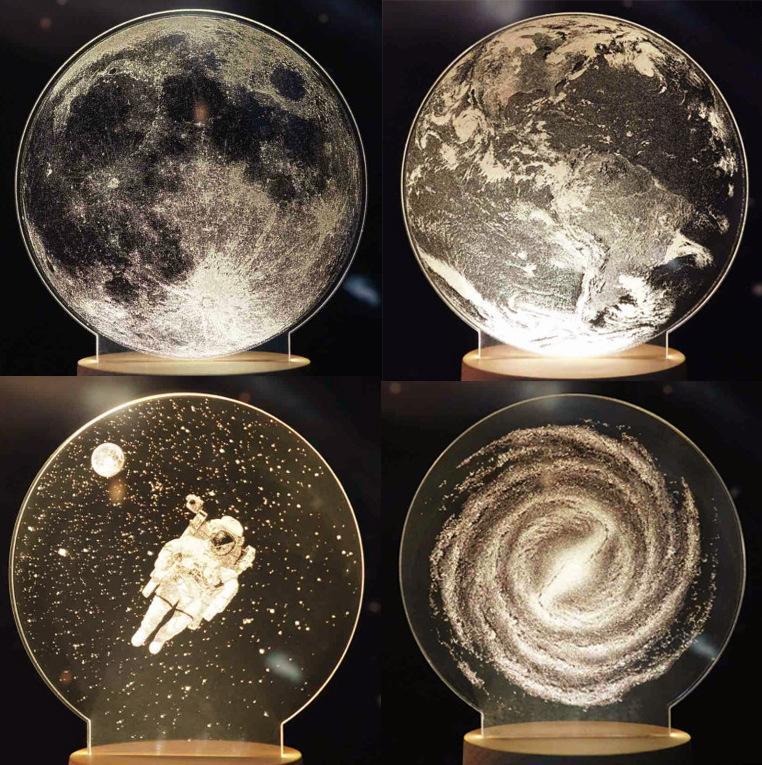 LED 3D Dimensional Ночники Луна Астронавт Planet 3D Окружающие огни Настольная лампа Детская Спальня Декор Luminaria XS Подарки