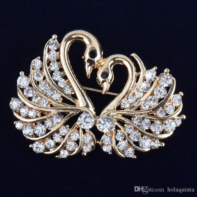 Trendy New Women's Gold Color Clear Swan - Broche en cristal autrichien - Broche fantaisie délicate