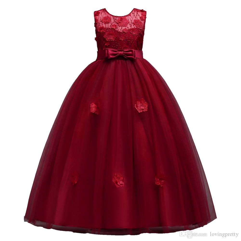 JaneVini 2018 Princess Burgundy Tulle Flower Girl Dresses For Weddings A-Line With Hand Made Flowers Bow Back Girls First Communion Dresses