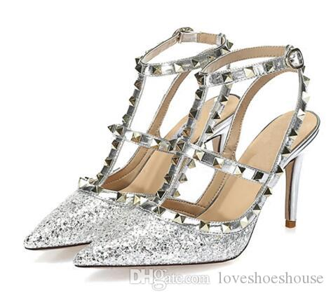 Negro plata remaches zapatos mujeres brillo Bling Bling punta estrecha tacones altos Sexy bombas vestido de boda zapatos de vestir 10 cm de tacón