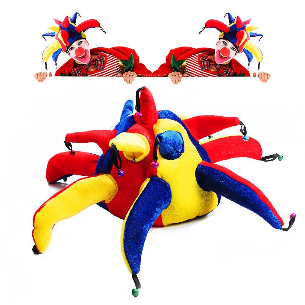 Смешной клоун шляпа нос костюм для Хэллоуина и необычные платья партии клоун производительности реквизит с колокольчиком многоцветный