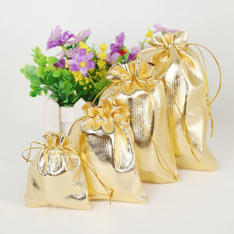 Hot 50pcs /Lot 13x18cm Gold Silver Color Drawable Organza Pouch Christmas Wedding Gift Jewelry Bag Christmas Gift