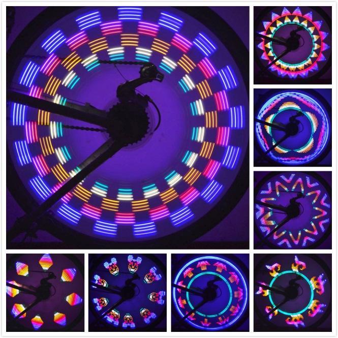 Nova Chegada 42 Padrões 32 Colorido LED Bicicleta Luzes de Ciclismo Roda Falou Luz Da Lâmpada À Prova D 'Água Transporte da gota
