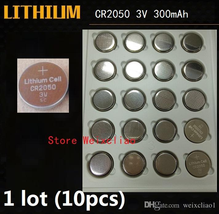 10pcs 1 lot CR2050 3V lithium li ion button cell battery CR 2050 3 Volt li-ion coin batteries tray package Free Shipping
