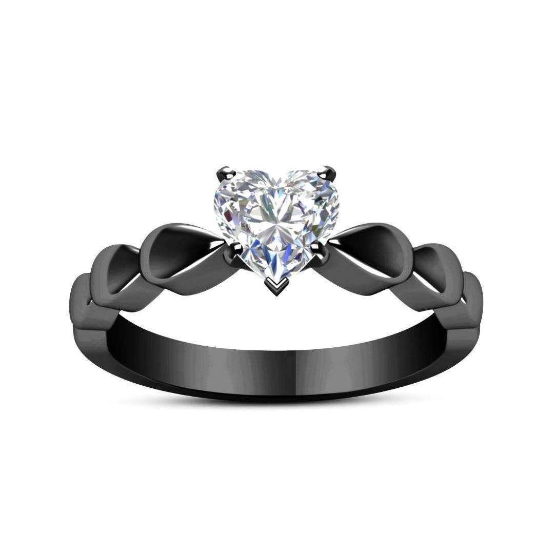 Nuevo anillo de joyería Fashino mujer cobre Zircone anillo de dedo en forma de corazón de cristal negro color oro venta caliente