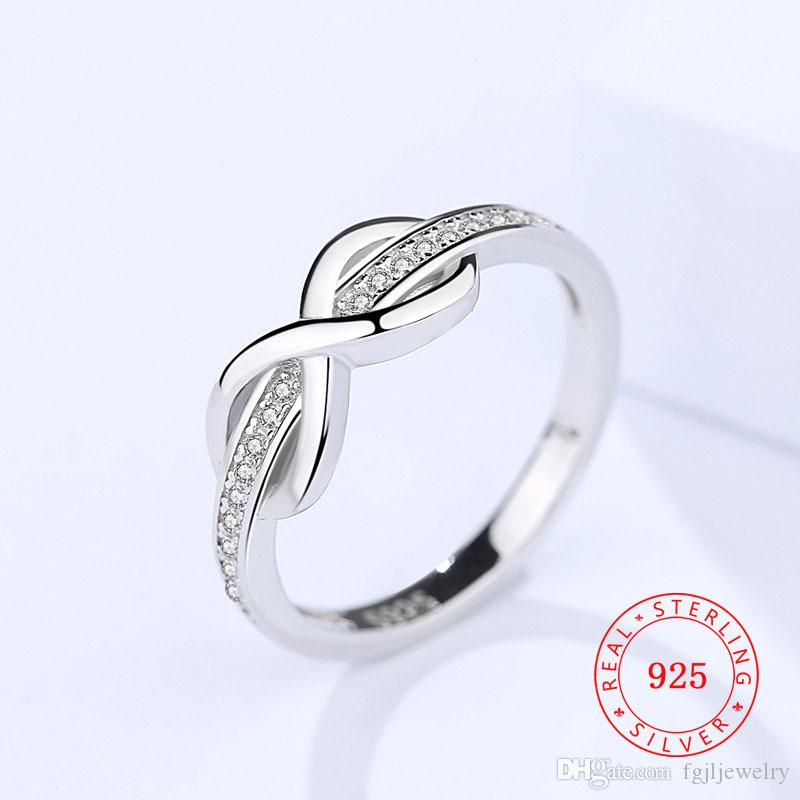 2018 New Ring Design Fashion 925 Sterling Silver Infinite Design Knot Finger Ring White Cubic Zircon Gem Modern Jewelry Ruby Engagement Rings Pearl